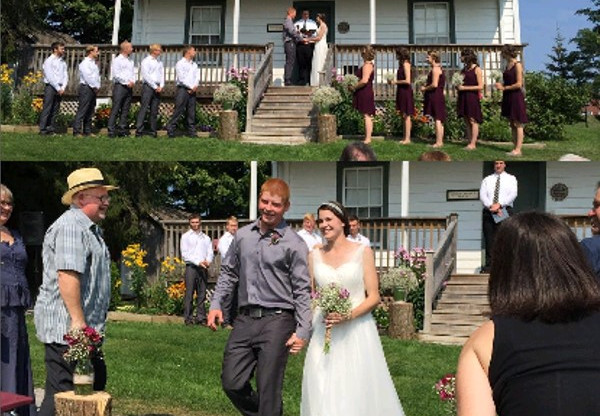 Wedding in front of the Gould-Carmody House