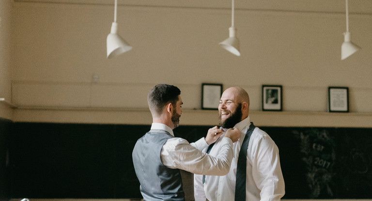 Ceremony preparations in the Quaker Hill Schoolhouse