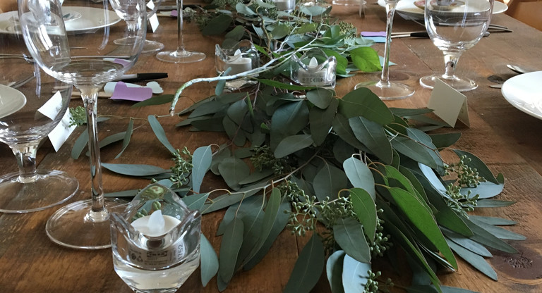 Quaker Hill Schoolhouse table settings