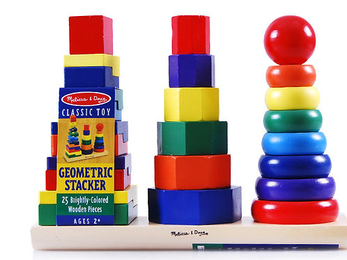 (Melissa & Douge) 25 Brightly Coloured Wooden Geometric Stacker