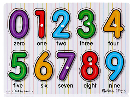 (Melissa & Douge) Wooden Cognitive Number Puzzle Matching Board