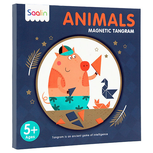 Saalin Wooden Magnetic Tangram Puzzle with Portable Case