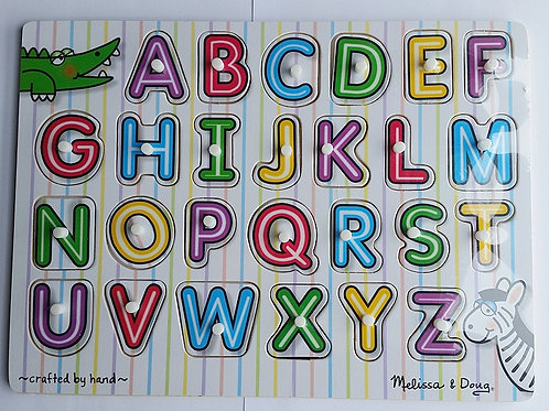 (Melissa & Douge) Wooden Cognitive Alphabet Puzzle Matching Board