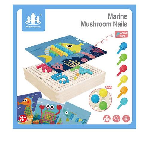Wooden Creative Marine Mushroom Nails Pixel Box Colour Cognitive Board