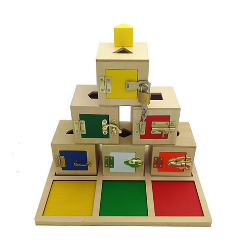 Montessori Shape Matching Building Blocks Separation Lock Boxes Set