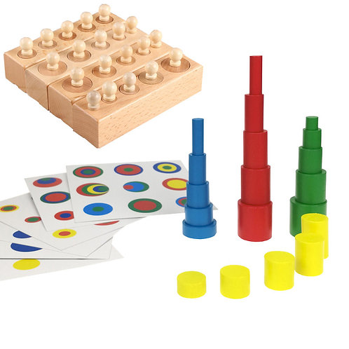 Knobbed Cylinder Sorting Blocks (Both Original & Colour) + Matching Cards