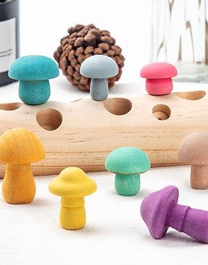 Wooden Interactive Mushroom Pegs Game