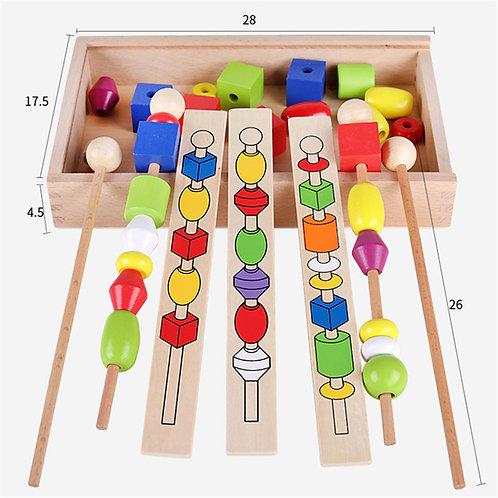 Wooden Colourful Lacing Game Box