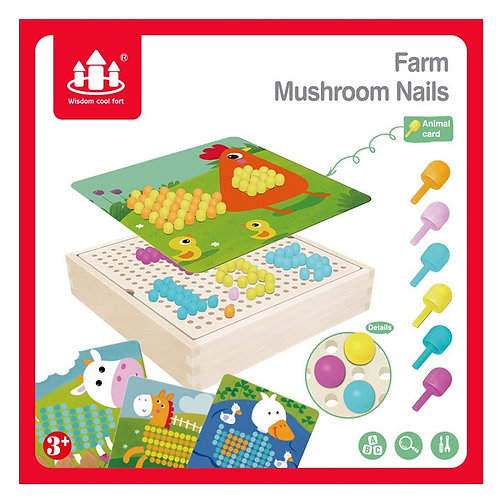 Wooden Creative Farm Mushroom Nails Pixel Box Colour Cognitive Board