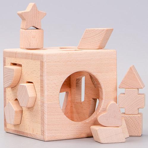 Solid Beechwood Shape Matching Building Block Box Game