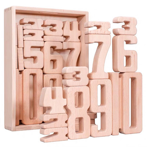 Jumbo 32pcs Beechwood Number Building Blocks