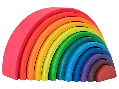 12-Layered Wooden Colourful Rainbow Building Blocks