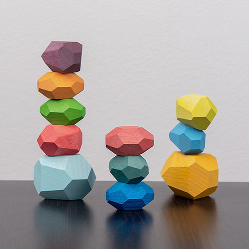 Wooden 16pcs Bright Colourful Series Balancing Stacking Stones