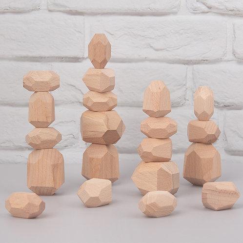 16pcs Wooden  Series Balancing Stacking Stones