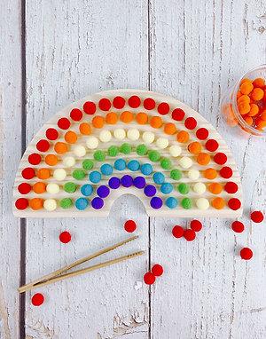 Montessori Wooden Pompom Rainbow Colour Sorting Game