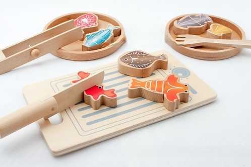 ED Wooden Magnetic 3-in-1 Fishing and Cooking Game Set