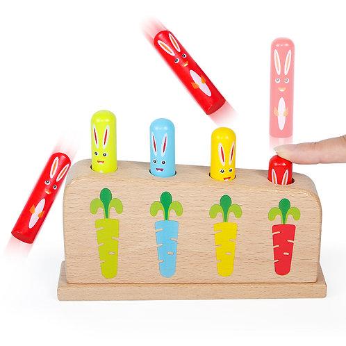 Montessori Wooden Rabbit Pop-up Toy Game
