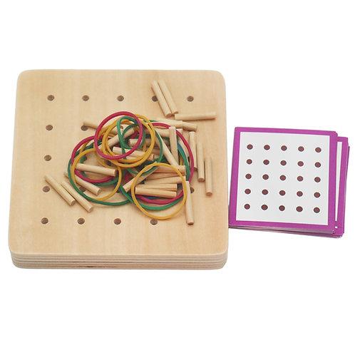 Montessori Geometric 25 Wooden Pin Rubber Band Activity Board