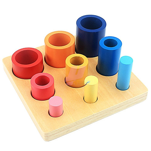 Montessori Wooden Cognitive 3 Cylindrical Set Column Ladder Puzzle