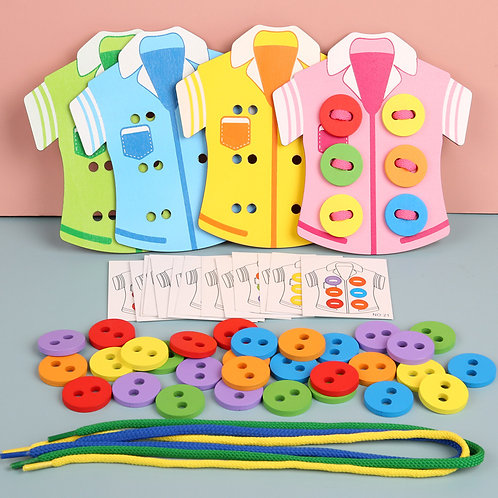 Wooden Clothes Buttons Thread Toys