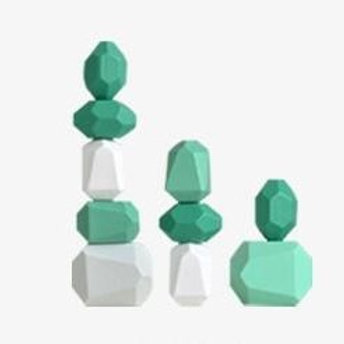Wooden 10pcs Green Series Balancing Stacking Stones