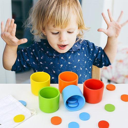 Wooden Colour Cognitive and Sensory Training Cups Set