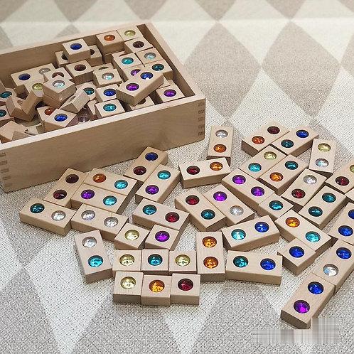 Beechwood 128pcs Colourful Gem Building Blocks