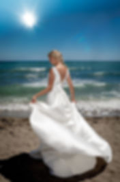 bride on spanish beach