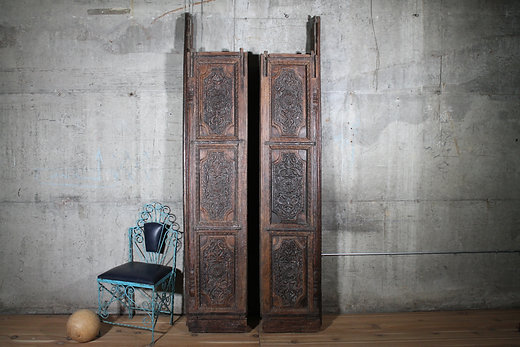 Antique Indian Hand Carved Teak Wood Indian Haveli Doors - Vintage Rustic Imported Furniture Hammer & Hand Antique Indian