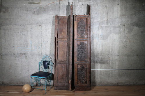 This incredible ornately carved 100+ year old salvaged antique door set was  pulled from an Indian antique yard. These doors are simply stunning. - Antique Indian Hand Carved Teak Wood Indian Haveli Doors Vintage