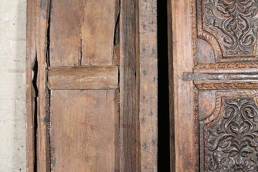 Antique Indian Hand Carved Teak Wood Indian Haveli Doors - Vintage Rustic Imported Furniture Hammer & Hand Antique Indian