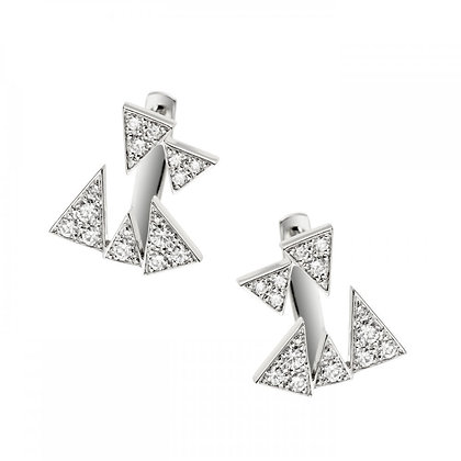 AKILLIS  WHITE GOLD PAVE -CAPTURE ME- EARRINGS