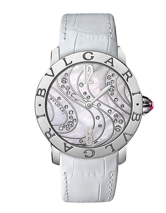BVLGARI AUTOMATIC DIAL COLOR WHITE MOTHER-OF-PEARL WITH DIAMONDS