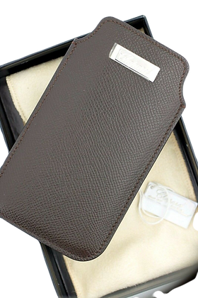 CHOPARD  IPHONE5 CASE BROWN LEATHER BUSINESS CARD HOLDER MADE IN ITALY