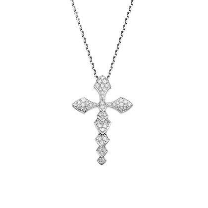 AKILLIS PYTHON CROSS PENDANT WHITE GOLD SET WITH WHITE DIAMONDS SMALL SIZE