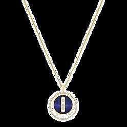 MESSIKA YELLOW GOLD DIAMOND NECKLACE LAPIS LAZULI LUCKY MOVE MM