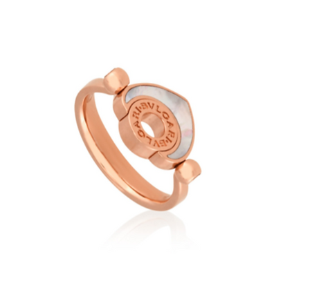 BVLGARI CUORE ROSE GOLD MOTHER OF PEARL RING.