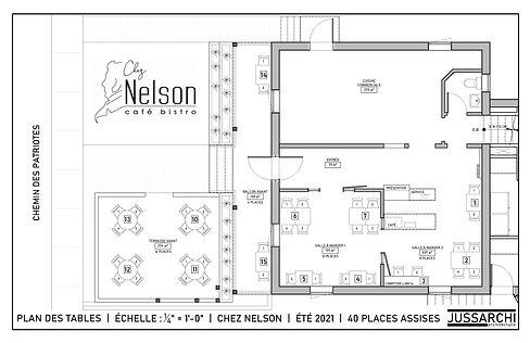 Création d'un plan d'aménagement des tables pour la réouverture du bistro Chez Nelson suite au déconfinement du mois de juin 2021.