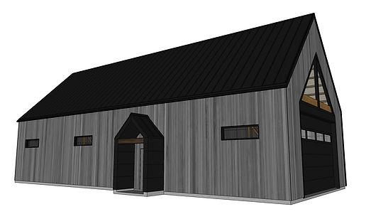 En remplacement d'une vieille grange trop endommagée pour la réparer, nous avons créé un bâtiment qui se démarquera par son design moderniste tout en faisant clin d'œil à son look d'antan!
