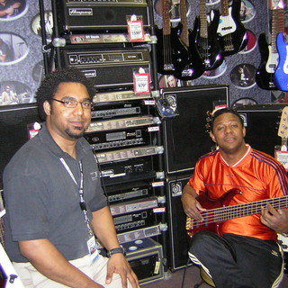 My very dear friends Guitarists/Music Educators Javier Vargas (L) and Leonardo Colón (Leo Santos) (a big influence in my musical life) (R) (Boston April 2005)