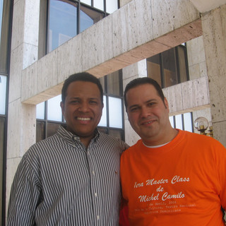 With Bassist Charles Flores (RIP) after their Michel Camilo Trio Master Class (Santo Domingo April 2006)