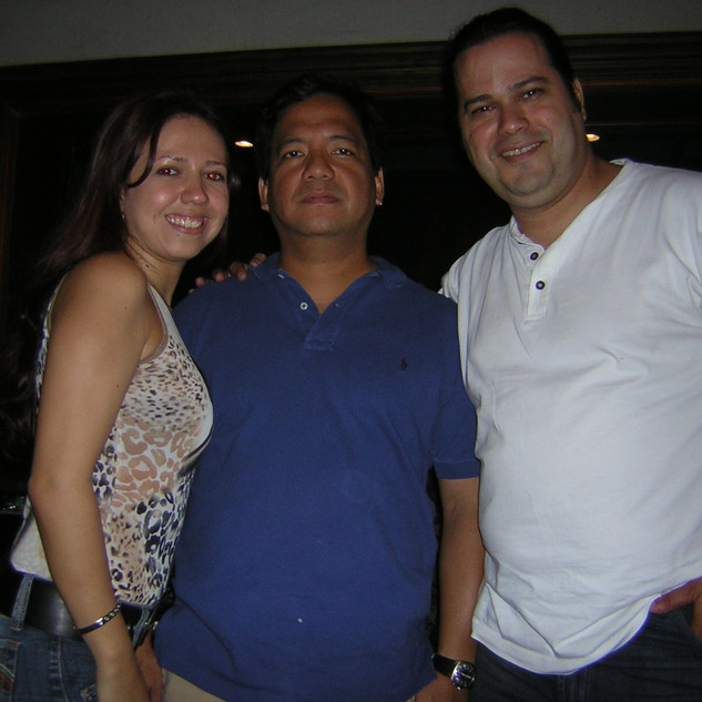 With Bassist/Arranger/Producer Pengbian Sang at his studio (one of my mentors) (Santo Domingo May 2005)