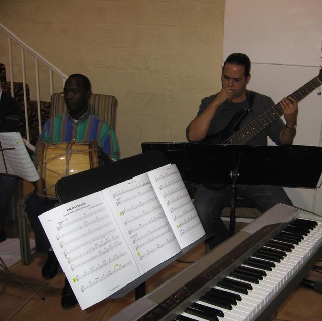 Rehearsing with Latin Grammy-Winner Yanina Rosado and Percussionist Extraordinaire Juan De La Cruz (Chocolate) for Lizzie Lizzie Show (Miami November 2007)