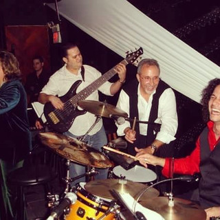 """Descarga Jam with Malena Burke, Emilio Estefan, Yoel Del Sol, and other band members (not shown on the picture) on one of the numerous great show nights with Malena at legendary Miami music club """"Hoy Como Ayer"""" (Mid to Late 2000s). Photo Courtesy of Malena Burke"""