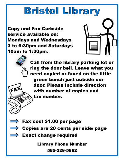 Copy and fax curbside service available