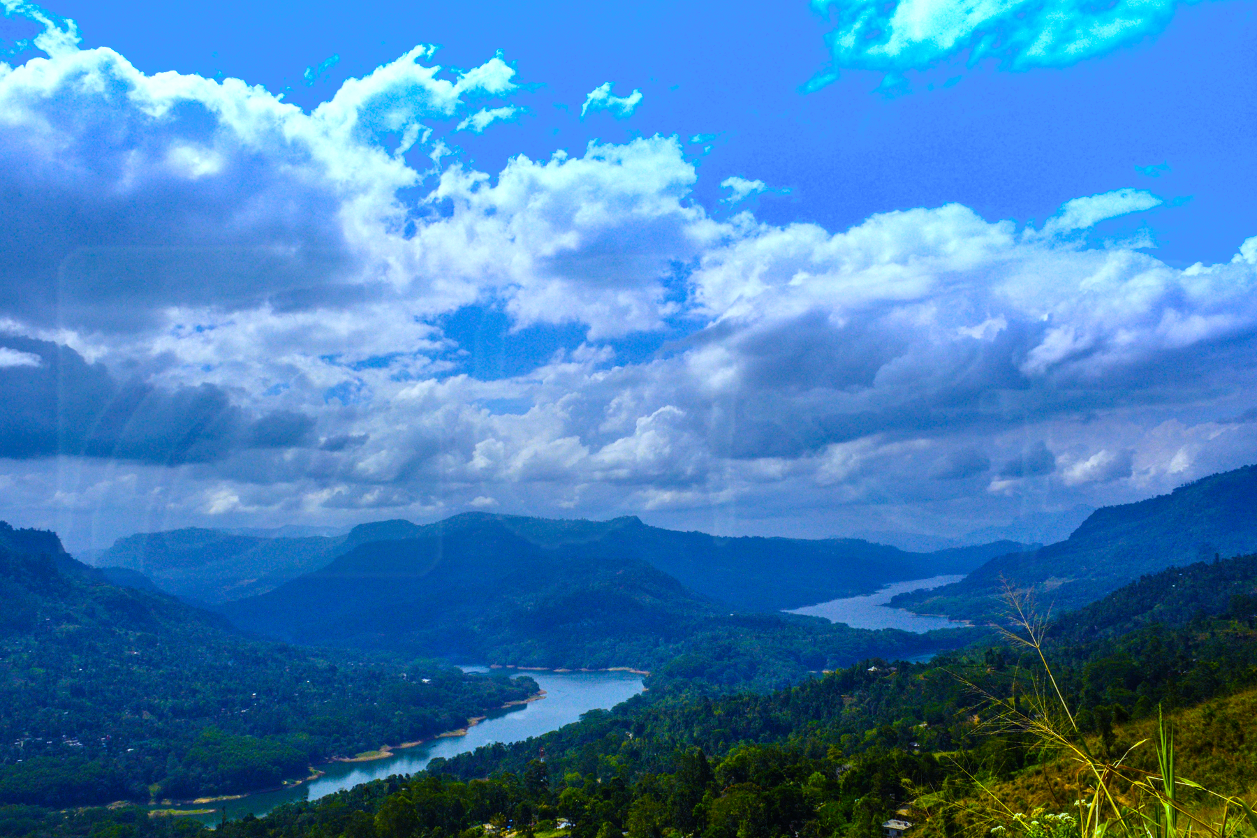 Sky, river and greenery in hill coun