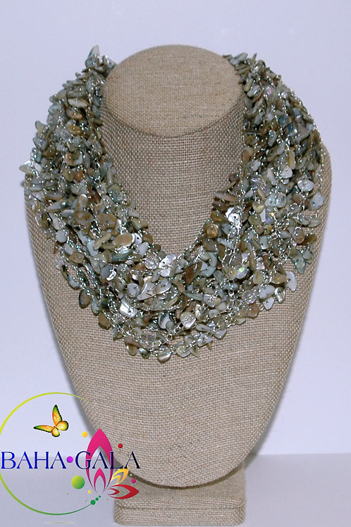 Mother of Pearl Crocheted Necklace & Earring Set.