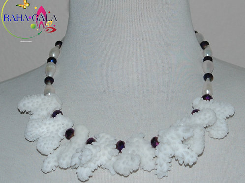 White Faux Coral & Freshwater Pearls Necklace & Earring Set.