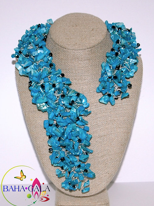 Dyed Turquoise Mother of Pearl & Black Crystals Necklace Set.