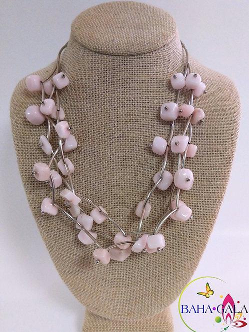 Beautiful 3-Strand Pink Jasper Necklace Set.